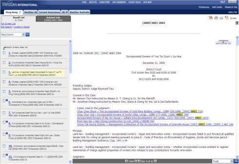 Westlaw HK Cases Cited List