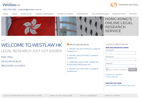 Visit the New Westlaw HK Website