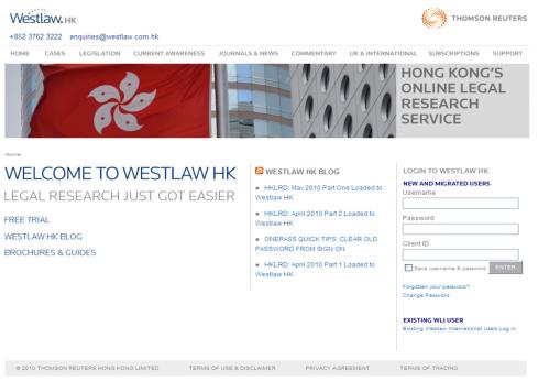 Visit the New Westlaw HK Website