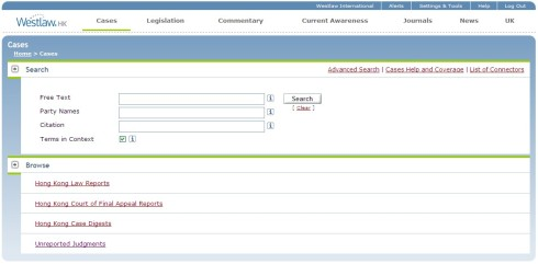 Westlaw HK - Cases Search Template